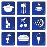 Ícones azuis relacionados do alimento e da bebida Fotos de Stock