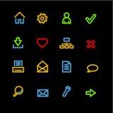 Ícones básicos de néon do Web Fotografia de Stock Royalty Free