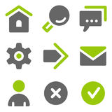 Ícones básicos do Web, ícones contínuos cinzentos verdes Imagens de Stock
