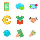 Ícones baratos ajustados, estilo do crédito dos desenhos animados Imagem de Stock