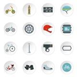 Ícones Bicycling ajustados, estilo liso ilustração stock