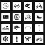Ícones Bicycling ajustados, estilo simples ilustração stock