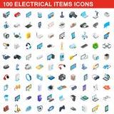 100 ícones bondes dos artigos ajustaram-se, o estilo 3d isométrico ilustração do vetor