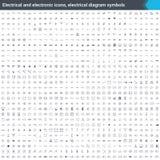 Ícones bondes e eletrônicos, símbolos bondes do diagrama Elementos do esquema de circuito Avivar os ícones do vetor isolados no b ilustração stock