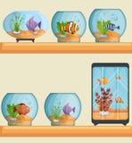 Ícones bonitos ajustados dos aquários Fotos de Stock Royalty Free
