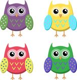 Ícones bonitos das corujas dos desenhos animados, ilustração brilhante das corujas ilustração do vetor