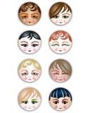 Ícones bonitos das meninas Fotografia de Stock Royalty Free