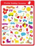 Ícones bonitos do bebê Imagem de Stock Royalty Free