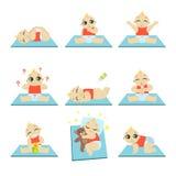 Ícones bonitos do bebê ajustados Fotografia de Stock