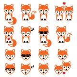 Ícones bonitos do caráter do Fox, animais selvagens Fotos de Stock Royalty Free