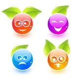 Ícones bonitos do emoticon do vetor Ilustração Stock