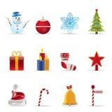Ícones bonitos do Natal e do inverno Fotos de Stock Royalty Free