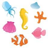 Ícones bonitos do sealife Fotografia de Stock Royalty Free