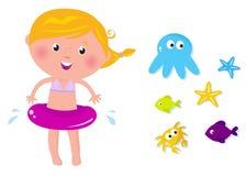 Ícones bonitos dos animais da menina e do oceano do nadador Fotos de Stock Royalty Free