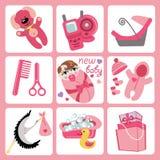 Ícones bonitos dos desenhos animados para o bebê europeu. Grupo recém-nascido Imagem de Stock Royalty Free