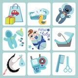 Ícones bonitos dos desenhos animados para o bebê europeu. Recém-nascido  Foto de Stock Royalty Free