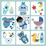 Ícones bonitos dos desenhos animados para o bebê recém-nascido do mulato Imagem de Stock