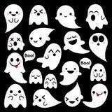 Ícones bonitos dos fantasmas do vetor no fundo preto, grupo do projeto de Dia das Bruxas, coleção do fantasma de Kawaii ilustração do vetor