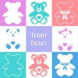 Ícones bonitos dos ursos de peluche ilustração royalty free