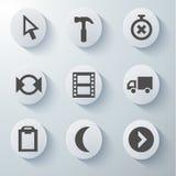Ícones brancos ajustados Imagens de Stock Royalty Free