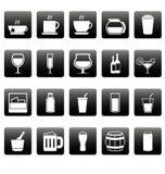 Ícones brancos da bebida em quadrados pretos Foto de Stock
