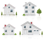 Ícones brancos da casa ajustados Imagem de Stock