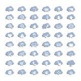 Ícones brancos da nuvem Fotografia de Stock