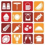 Ícones brancos do alimento em fundos coloridos Foto de Stock
