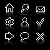 Ícones brancos do contorno do Web básico ilustração do vetor