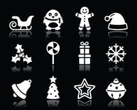 Ícones brancos do Natal ajustados no fundo preto Foto de Stock Royalty Free