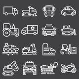 Ícones brancos dos veículos do vetor ajustados ilustração stock