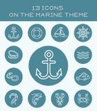 13 ícones brancos no tema marinho ilustração stock