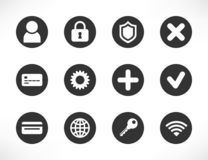 Ícones brancos pretos universais do botão ilustração do vetor