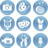 Ícones brilhantes como símbolos das artes no vetor Fotos de Stock