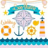 Ícones brilhantes do cruzeiro do marinheiro ajustados Foto de Stock Royalty Free