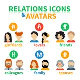 Ícones brilhantes e relações sociais dos avatars Fotografia de Stock