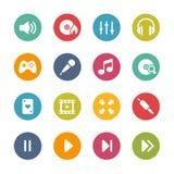 Ícones center dos meios -- Série fresca das cores Fotografia de Stock Royalty Free