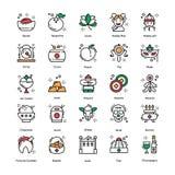 Ícones chineses da celebração do ano novo ilustração do vetor