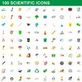 100 ícones científicos ajustados, estilo dos desenhos animados ilustração stock