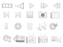 Ícones cinzentos dos multimédios Foto de Stock