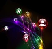 Ícones coloridos abstratos do Internet Foto de Stock Royalty Free