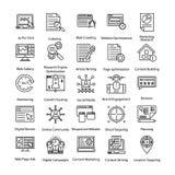 Ícones coloridos ajustados do Internet e do mercado de Digitas ilustração do vetor
