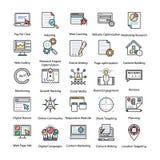 Ícones coloridos ajustados do Internet e do mercado de Digitas ilustração stock