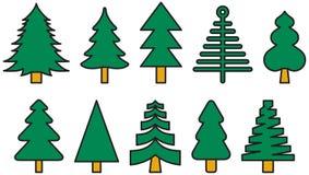 Ícones coloridos da árvore de Natal Imagem de Stock