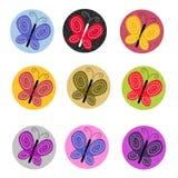 Ícones coloridos da borboleta Imagens de Stock Royalty Free