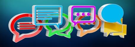 Ícones coloridos da conversação da rendição 3D de Digitas Fotografia de Stock