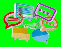 Ícones coloridos da conversação da rendição 3D de Digitas ilustração stock