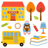 Ícones coloridos da escola ajustados Fotos de Stock