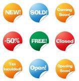 Ícones coloridos da etiqueta Imagem de Stock