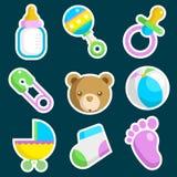Ícones coloridos da festa do bebé Foto de Stock